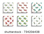 color batterfly seamless... | Shutterstock .eps vector #734206438