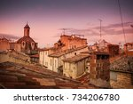 south europe old town roofs in... | Shutterstock . vector #734206780