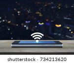 wi fi button flat icon on... | Shutterstock . vector #734213620