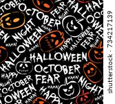 halloween seamless pattern with ... | Shutterstock .eps vector #734217139
