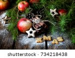 christmas background contained... | Shutterstock . vector #734218438