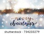 merry christmas lettering ... | Shutterstock .eps vector #734233279