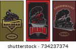 set of colorful retro posters... | Shutterstock .eps vector #734237374