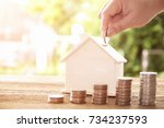 hand putting coin in house... | Shutterstock . vector #734237593