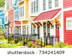 row of colorful  red  yellow ... | Shutterstock . vector #734241409