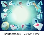 alice in wonderland. playing... | Shutterstock .eps vector #734244499