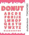 font of donuts. bakery sweet... | Shutterstock .eps vector #734244583