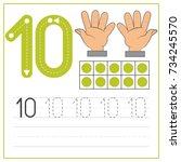 number writing practice 10 | Shutterstock .eps vector #734245570