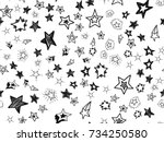 doodle star confetti seamless... | Shutterstock .eps vector #734250580