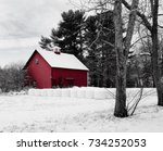 stylized winter view of red... | Shutterstock . vector #734252053