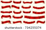 flat vector ribbons banners... | Shutterstock .eps vector #734255374