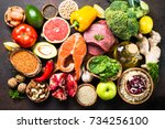balanced diet food background.... | Shutterstock . vector #734256100