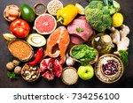 balanced diet food background.... | Shutterstock . vector #734256100