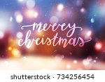 merry christmas lettering ... | Shutterstock .eps vector #734256454