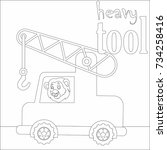 coloring page on white... | Shutterstock .eps vector #734258416