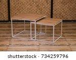 bedside wooden table in loft... | Shutterstock . vector #734259796