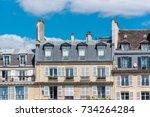 paris  beautiful facades... | Shutterstock . vector #734264284