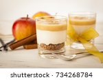 seasonal christmas dessert with ... | Shutterstock . vector #734268784