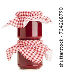 two jars of handmade raspberry... | Shutterstock . vector #734268790