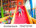 indoor playground with colorful ... | Shutterstock . vector #734273749