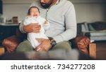 newborn baby boy crying on his... | Shutterstock . vector #734277208