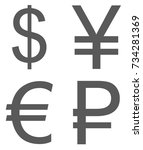 currency signs set icon. vector ... | Shutterstock .eps vector #734281369