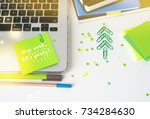 christmas party in the office ... | Shutterstock . vector #734284630