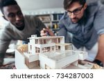 close up shot of scale model... | Shutterstock . vector #734287003