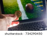 golden bitcoin coin against... | Shutterstock . vector #734290450