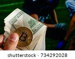 golden bitcoin coin dollar... | Shutterstock . vector #734292028