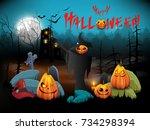 halloween background.vector... | Shutterstock .eps vector #734298394
