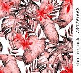 watercolor seamless pattern... | Shutterstock . vector #734299663