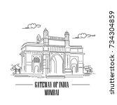 gate way of india mumbai... | Shutterstock .eps vector #734304859