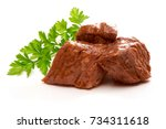 stew meat with herbs isolated... | Shutterstock . vector #734311618