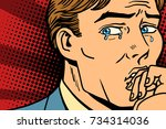 pop art man crying in depression | Shutterstock .eps vector #734314036
