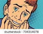 tears of joy  funny face man in ...   Shutterstock .eps vector #734314078