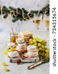christmas cheese platter ...   Shutterstock . vector #734315674
