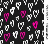 hand drawn texture. hearts ... | Shutterstock .eps vector #734316523