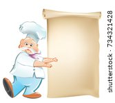 cartoon chef  in white hat with ... | Shutterstock .eps vector #734321428