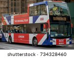 London, 28th September 2017:-A Union Flag decorated London tour bus near the Palace of Westminster - stock photo