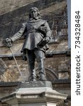 London, 28th September 2017:-Statue of Oliver Cromwell at the Palace of Westminster, leader of the Parliamentarians during the English Civil War. - stock photo