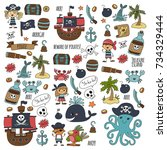 seamless pattern pirate party... | Shutterstock . vector #734329444