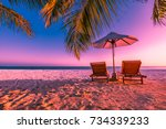 exotic tropical beach sunset ... | Shutterstock . vector #734339233
