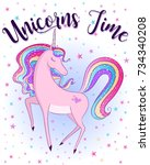 unicorns time cute magical... | Shutterstock .eps vector #734340208