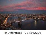 brooklyn bridge rooftop view at ... | Shutterstock . vector #734342206