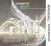 3d realistic cosmetic bottle... | Shutterstock .eps vector #734345608