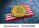 3d illustration of bitcoin over ...   Shutterstock . vector #734349088
