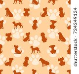 seamless pattern with different ... | Shutterstock .eps vector #734349124
