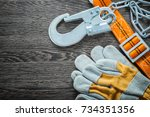 construction gloves safety... | Shutterstock . vector #734351356