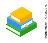 pile of three books. education... | Shutterstock .eps vector #734352976